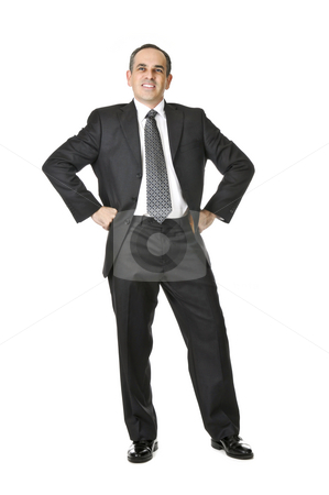 Businessman on white background stock photo, Happy businessman in a suit isolated on white background by Elena Elisseeva