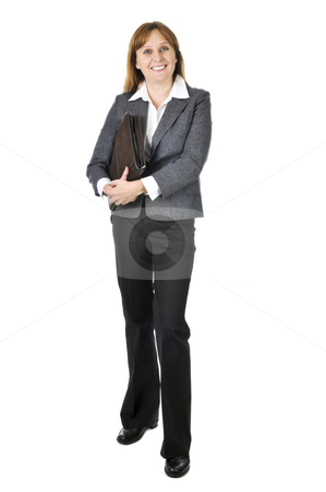 Businesswoman on white background stock photo, Happy smiling businesswoman isolated on white background by Elena Elisseeva