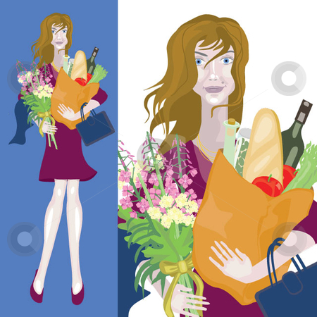 I'm home stock vector clipart, A pretty woman stands with arms full of belongings, groceries and flowers. by Maggie Bates