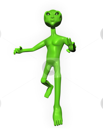 3D Alien on white background stock photo, 3D Alien on a white background posing by John Teeter
