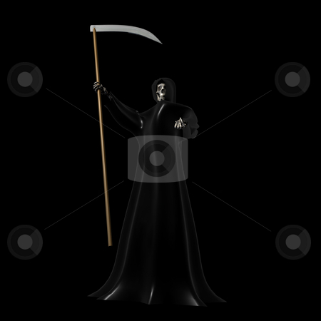 Grim Reaper on Black stock photo, Grim Reaper on a Black Background 3D by John Teeter