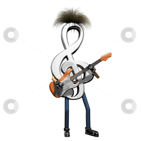 Musical note playing guitar stock photo, Musical note playing guitar on white background by John Teeter