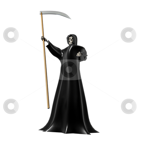 Grim Reaper on White stock photo, Grim Reaper on a White Background 3D by John Teeter