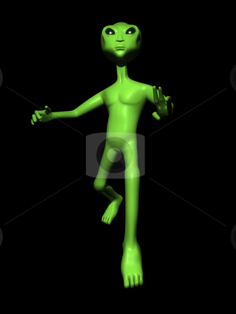 3D Alien on Black Background stock photo, 3D alien on a black background posing by John Teeter