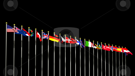 World flag on Black stock photo, World Flags on a Black background 3D by John Teeter