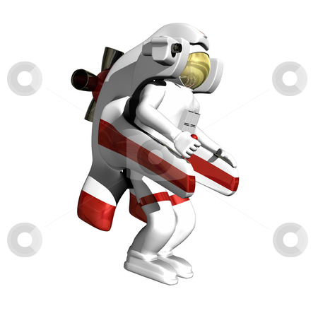 Astronaut with jet pack stock photo, Astronaut with jet pack on white background by John Teeter