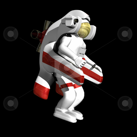 Astronaut with jet pack on black  stock photo, Astronaut with jet pack on black background by John Teeter