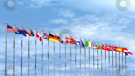 World Flags on Sky Background stock photo, World Flags on a Sky Background by John Teeter