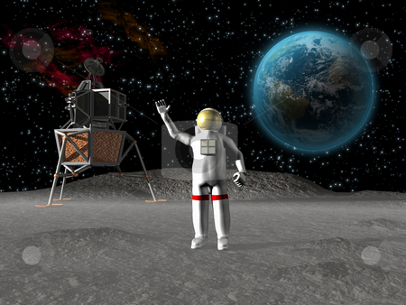 Astronaut on the moon stock photo, Astronaut waving on the moon with earth by John Teeter