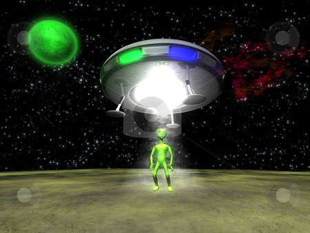 3D Alien with UFO stock photo, 3D Alien with a UFO on green planet by John Teeter