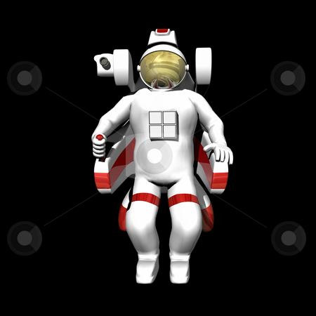 Astronaut in booster pack stock photo, Astronaut in booster pack on black background by John Teeter