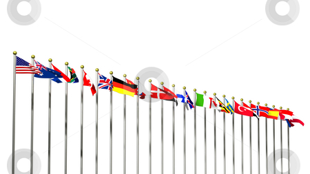 World flags on white stock photo, World Flags on a White background 3D by John Teeter