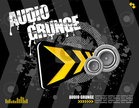 Audio grunge stock vector clipart, Speakers and diversion sign on black grunge background ready for your own text by Paul Turner