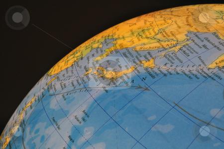 Japan globe stock photo, Japan detail on illuminated globe by Nils Volkmer