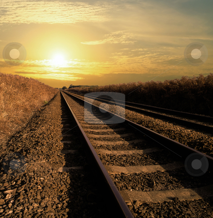 Infinity stock photo, Rail track going into infinity by Paul Phillips