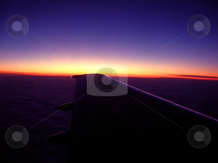 Evening flight stock photo, Horizon line sunset sky from flying plane view by Julija Sapic