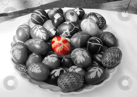 Coloring Easter eggs stock photo, Easter eggs plate in black and white - red egg by Julija Sapic