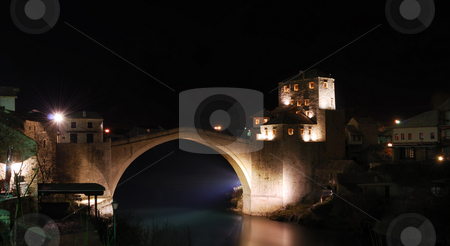 Old Bridge in Mostar at Night stock photo, Old Bridge in Mostar at night reconstructed in 2003 after the original from 1556. by Denis Radovanovic