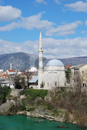 Koski Mehmed Pasha Mosque in Mostar stock photo, Koski Mehmed Pasha Mosque in Mostar Old Town on a sunny winter day. by Denis Radovanovic