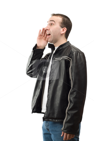 Man Yelling stock photo, A young man cupping his mouth with his hand and yelling out something, isolated against a white background by Richard Nelson