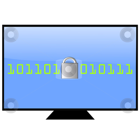 Security stock vector clipart, Computer screen with lock and digital number by Ira J Lyles Jr