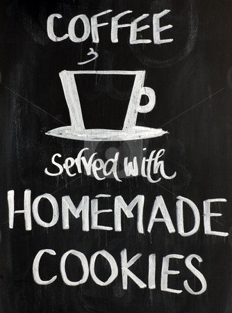 Blackboard Sign stock photo, Blackboard sign with a cup motif and the words - Coffee served with homemade cookies. White on a black background by Peter Cox
