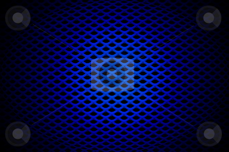 Blue Grille stock photo, Blue spot-lit speaker grille by Peter Cox