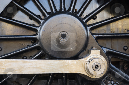 Steam locomotive wheel stock photo, Steam locomotive wheel and coupling rods by Peter Cox