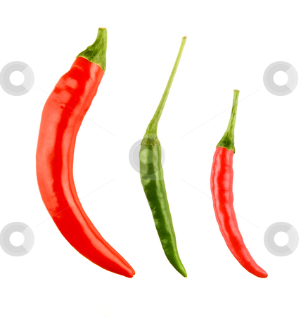 Red and green chilli peppers stock photo, Red and green chilli peppers by Tommy Maenhout