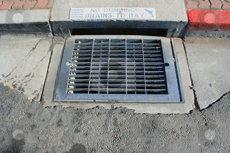 No Dumping Drains to Bay Sign stock photo,  by Michael Felix