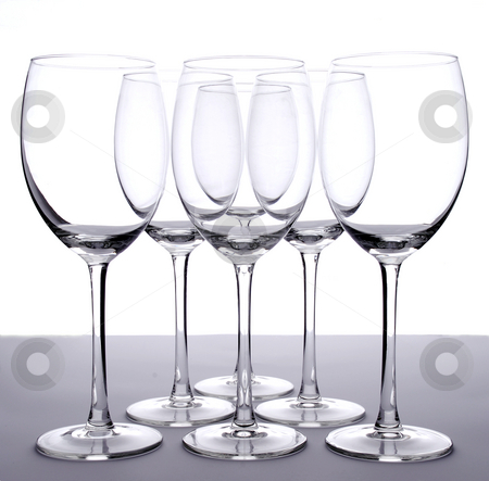 Empty wineglasses stock photo, Arrangement of empty wineglasses by Paul Turner