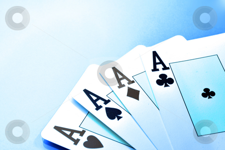 Ice Poker stock photo, Casino cards on a blue background and ace card in Vegas by Tudor Antonel adrian