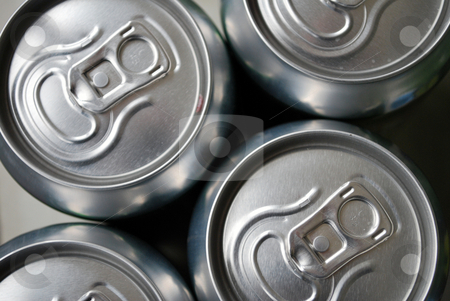 Beer Cans stock photo, Top view of arranged metallic beer cans by Tudor Antonel adrian