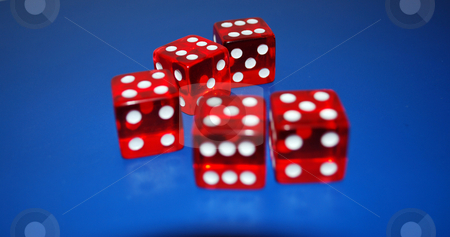 Dice stock photo, Five red dice on a blue background by Tudor Antonel adrian