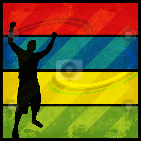 Happy Man stock photo, A silhouette of a man posing with his arms in the air over a colorful background. by Todd Arena