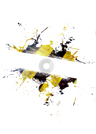 Hazard Stripes Splatter stock photo, A hazard stripes paint splatter frame in black and yellow. by Todd Arena