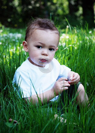 Cute Little Boy stock photo, Cute little boy of mixed ethnicity sitting serenely on a carpet of lush green grass by Orange Line Media
