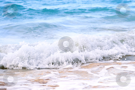 Waves breaking on tropical shore stock photo, Tropical Caribbean sea waves breaking on the shore by Elena Elisseeva