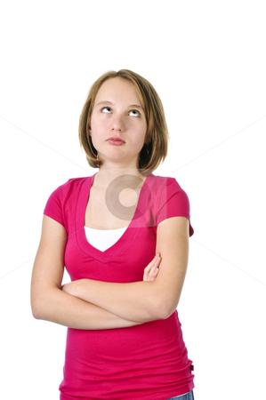 Teenage with attitude stock photo, Teenage girl showing attitude isolated on white background by Elena Elisseeva