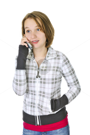 Teenage girl talking on phone stock photo, Teenage girl talking on a cell phone isolated on white background by Elena Elisseeva