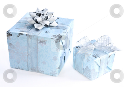 Christmas gift boxes stock photo, Two wrapped christmas gift boxes isolated on white background by Elena Elisseeva