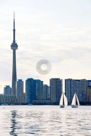 Toronto skyline stock photo, Toronto harbor skyline with CN Tower and skyscrapers by Elena Elisseeva