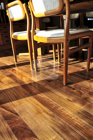 Hardwood floor stock photo, Hardwood walnut floor in residential home dining room by Elena Elisseeva