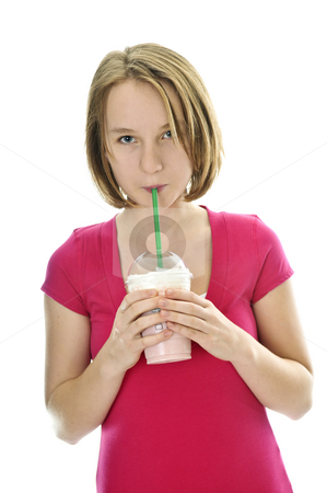 Teenage girl with milkshake stock photo, Teenage drinking strawberry milkshake isolated on white background by Elena Elisseeva