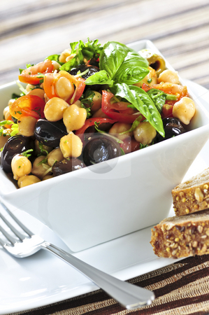 Vegetarian chickpea salad stock photo, Vegetarian meal of chickpea or garbanzo beans salad by Elena Elisseeva