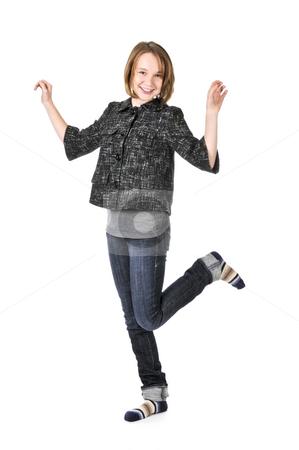 Teenage girl on white background stock photo, Full body portrait of a teenage girl isolated on white background by Elena Elisseeva