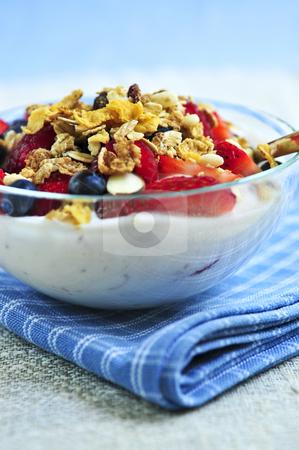 Yogurt with berries and granola stock photo, Serving of yogurt with fresh berries and granola by Elena Elisseeva