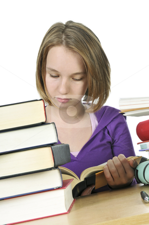 Teenage girl studying stock photo, Teenage school girl studying at the desk by Elena Elisseeva