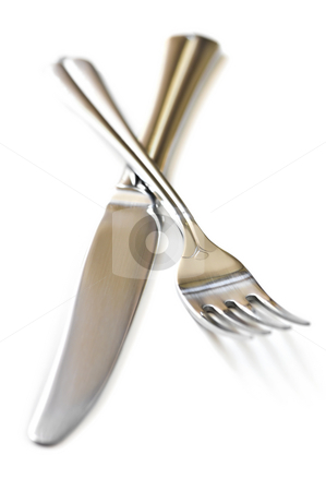 Fork and knife stock photo, Fork and knife isolated on white background by Elena Elisseeva