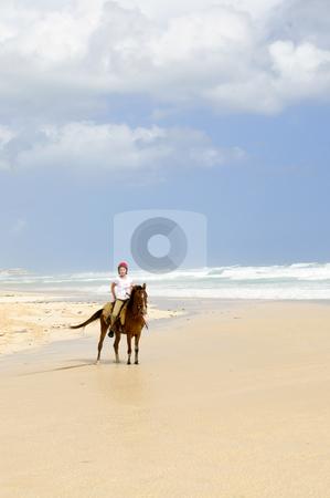 Girl riding horse on beach stock photo, Young girl horseback riding on Caribbean beach by Elena Elisseeva